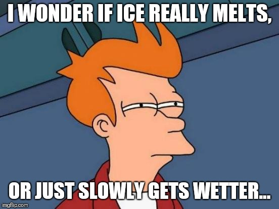 States of Matter | I WONDER IF ICE REALLY MELTS, OR JUST SLOWLY GETS WETTER... | image tagged in memes,futurama fry | made w/ Imgflip meme maker