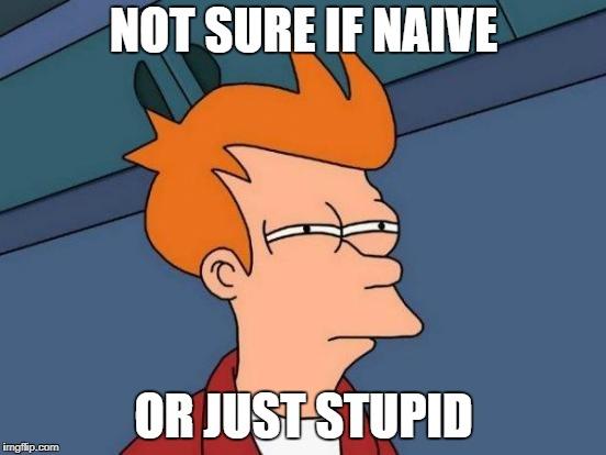 Futurama Fry Meme   NOT SURE IF NAIVE OR JUST STUPID   image tagged in memes,futurama fry   made w/ Imgflip meme maker