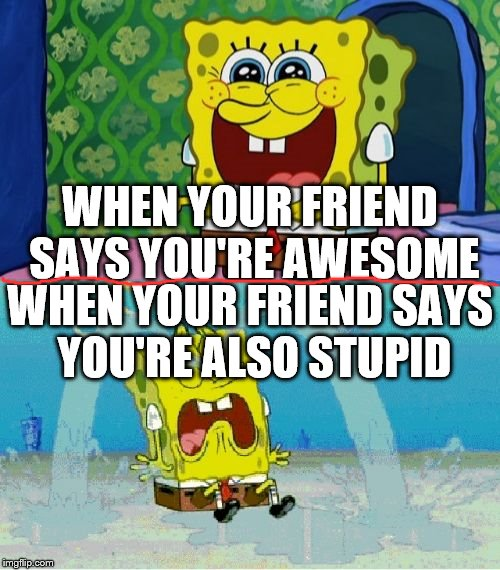 spongebob happy and sad | WHEN YOUR FRIEND SAYS YOU'RE AWESOME WHEN YOUR FRIEND SAYS YOU'RE ALSO STUPID | image tagged in spongebob happy and sad | made w/ Imgflip meme maker