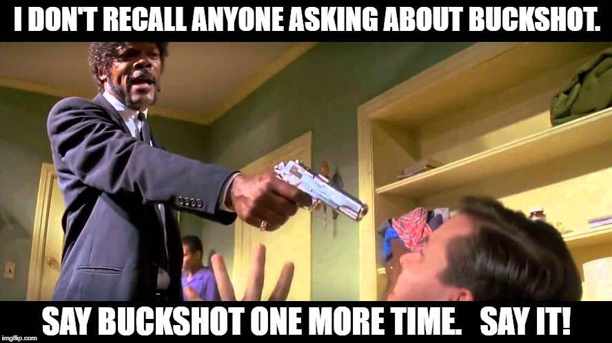I DON'T RECALL ANYONE ASKING ABOUT BUCKSHOT. SAY BUCKSHOT ONE MORE TIME.   SAY IT! | image tagged in email motherfucker | made w/ Imgflip meme maker