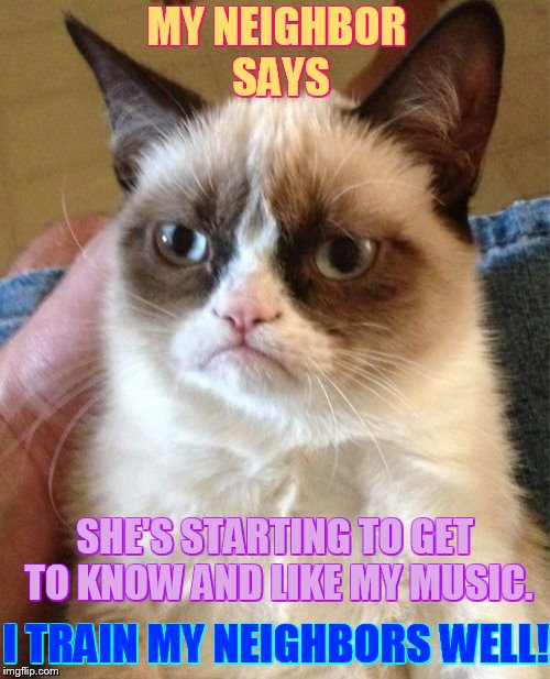 Grumpy Cat Meme | MY NEIGHBOR SAYS I TRAIN MY NEIGHBORS WELL! SHE'S STARTING TO GET TO KNOW AND LIKE MY MUSIC. | image tagged in memes,grumpy cat,neighbor,likes,music,trained well | made w/ Imgflip meme maker