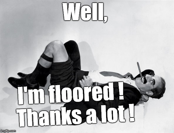 recumbent Groucho | Well, I'm floored !  Thanks a lot ! | image tagged in recumbent groucho | made w/ Imgflip meme maker