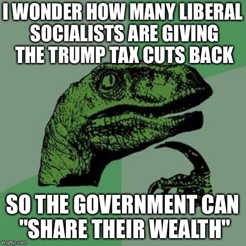 "Philosoraptor Meme | I WONDER HOW MANY LIBERAL SOCIALISTS ARE GIVING THE TRUMP TAX CUTS BACK SO THE GOVERNMENT CAN ""SHARE THEIR WEALTH"" 