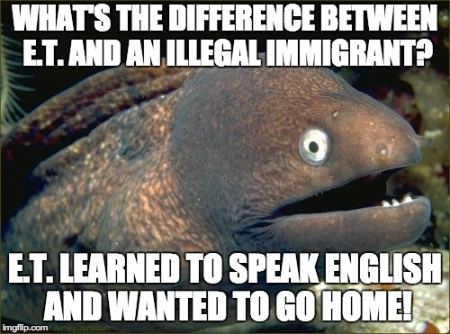 Bad Joke Eel Meme | WHAT'S THE DIFFERENCE BETWEEN E.T. AND AN ILLEGAL IMMIGRANT? E.T. LEARNED TO SPEAK ENGLISH AND WANTED TO GO HOME! | image tagged in memes,bad joke eel,funny,illegal immigration,jokes | made w/ Imgflip meme maker