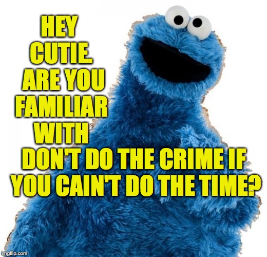 HEY CUTIE.  ARE YOU FAMILIAR WITH DON'T DO THE CRIME IF YOU CAIN'T DO THE TIME? | made w/ Imgflip meme maker