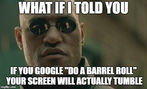 "barrel roll | WHAT IF I TOLD YOU IF YOU GOOGLE ""DO A BARREL ROLL"" YOUR SCREEN WILL ACTUALLY TUMBLE 
