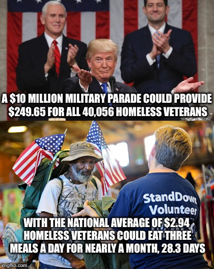 Estimates for a Trump Military Parade Could exceed 3X this Amount | A $10 MILLION MILITARY PARADE COULD PROVIDE $249.65 FOR ALL 40,056 HOMELESS VETERANS WITH THE NATIONAL AVERAGE OF $2.94 HOMELESS VETERANS CO | image tagged in donald trump,military,parade,homeless,vets,feed | made w/ Imgflip meme maker