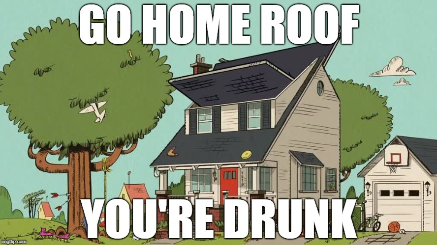 the loud house | GO HOME ROOF YOU'RE DRUNK | image tagged in the loud house,roof | made w/ Imgflip meme maker