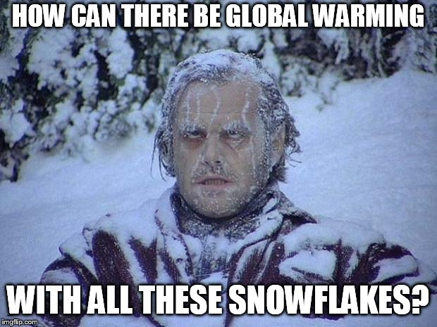 Jack Nicholson The Shining Snow | HOW CAN THERE BE GLOBAL WARMING WITH ALL THESE SNOWFLAKES? | image tagged in memes,jack nicholson the shining snow | made w/ Imgflip meme maker