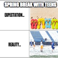 Expectation vs Reality | SPRING BREAK WITH TEENS | image tagged in expectation vs reality | made w/ Imgflip meme maker