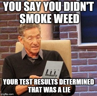Maury Lie Detector Meme | YOU SAY YOU DIDN'T SMOKE WEED YOUR TEST RESULTS DETERMINED THAT WAS A LIE | image tagged in memes,maury lie detector | made w/ Imgflip meme maker