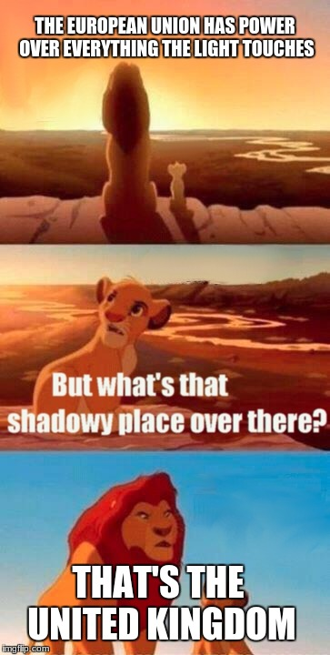 Simba Shadowy Place Meme | THE EUROPEAN UNION HAS POWER OVER EVERYTHING THE LIGHT TOUCHES THAT'S THE UNITED KINGDOM | image tagged in memes,simba shadowy place | made w/ Imgflip meme maker