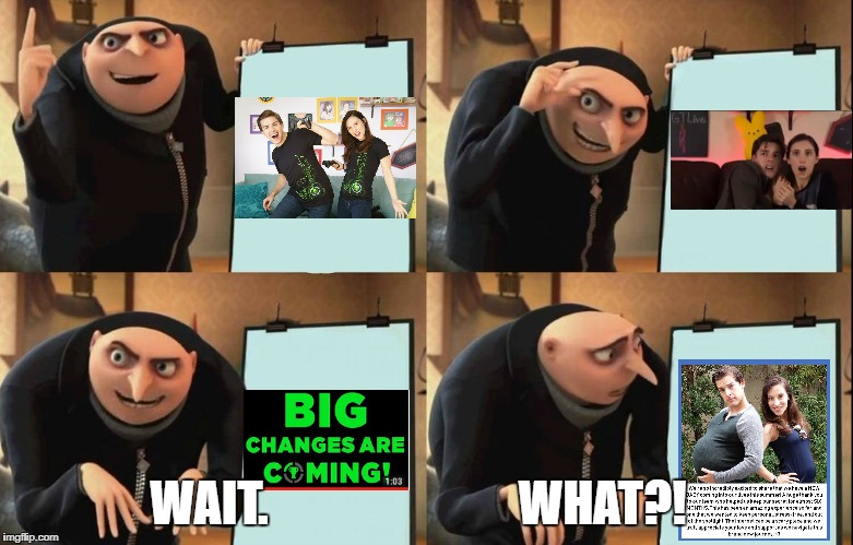 BabyPat confirmed | WAIT.                          WHAT?! | image tagged in despicable me diabolical plan gru template,gtlive,babypat,new theorist,matpat,stephanie patrick | made w/ Imgflip meme maker