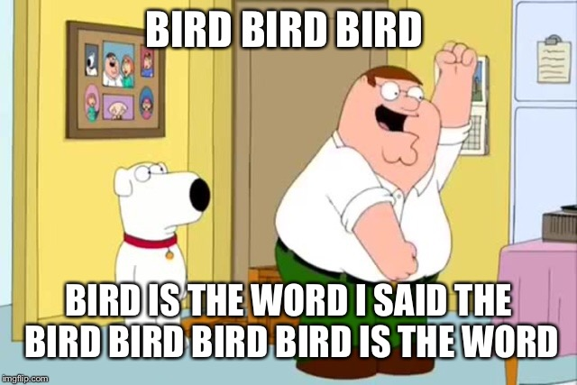 But I'm Retaaded | BIRD BIRD BIRD BIRD IS THE WORD I SAID THE BIRD BIRD BIRD BIRD IS THE WORD | image tagged in memes,family guy,peter griffin | made w/ Imgflip meme maker