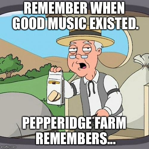 Pepperidge Farm Remembers Meme | REMEMBER WHEN GOOD MUSIC EXISTED. PEPPERIDGE FARM REMEMBERS... | image tagged in memes,pepperidge farm remembers,music | made w/ Imgflip meme maker