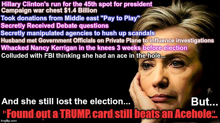 LET IT GO! | Colluded with FBI thinking she had an ace in the hole... Found out a TRUMP card still beats an Acehole... | image tagged in hillary clinton,election 2016,russia,fbi,hillary clinton meme | made w/ Imgflip meme maker
