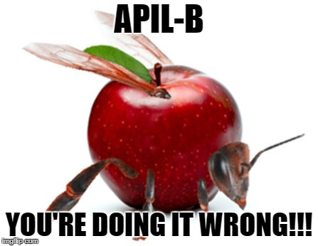 APIL-B YOU'RE DOING IT WRONG!!! | image tagged in apple bee | made w/ Imgflip meme maker