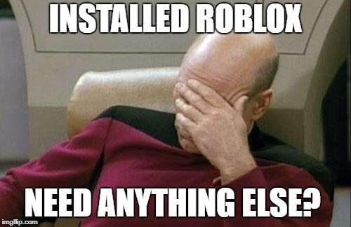Captain Picard Facepalm Meme | INSTALLED ROBLOX NEED ANYTHING ELSE? | image tagged in memes,captain picard facepalm | made w/ Imgflip meme maker