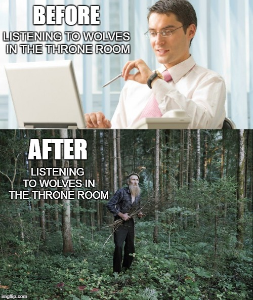 BEFORE LISTENING TO WOLVES IN THE THRONE ROOM LISTENING TO WOLVES IN THE THRONE ROOM AFTER | made w/ Imgflip meme maker