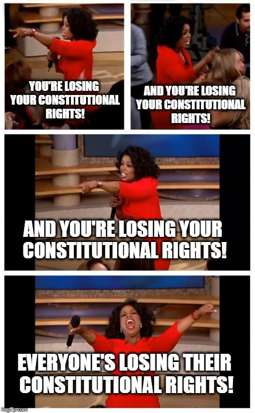 Oprah You Get A Car Everybody Gets A Car | YOU'RE LOSING YOUR CONSTITUTIONAL RIGHTS! EVERYONE'S LOSING THEIR CONSTITUTIONAL RIGHTS! AND YOU'RE LOSING YOUR CONSTITUTIONAL RIGHTS! AND Y | image tagged in memes,oprah you get a car everybody gets a car | made w/ Imgflip meme maker