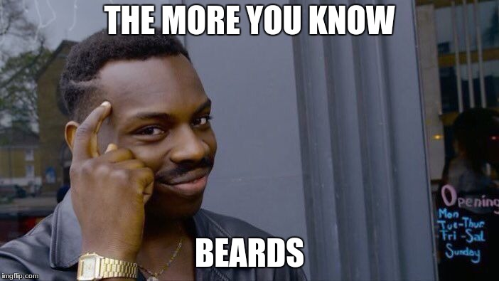 Roll Safe Think About It Meme | THE MORE YOU KNOW BEARDS | image tagged in memes,roll safe think about it | made w/ Imgflip meme maker