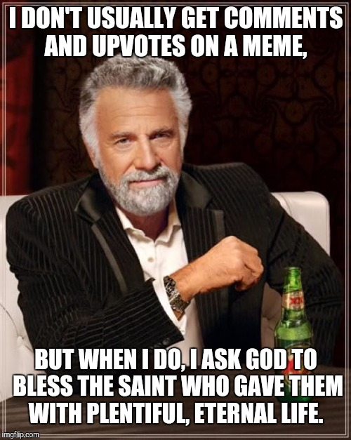The Most Interesting Man In The World Meme | I DON'T USUALLY GET COMMENTS AND UPVOTES ON A MEME, BUT WHEN I DO, I ASK GOD TO BLESS THE SAINT WHO GAVE THEM WITH PLENTIFUL, ETERNAL LIFE. | image tagged in memes,the most interesting man in the world | made w/ Imgflip meme maker