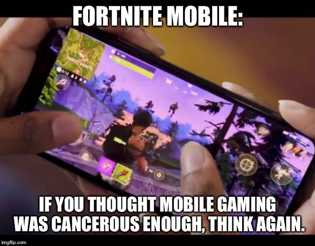 FORTNITE MOBILE: IF YOU THOUGHT MOBILE GAMING WAS CANCEROUS ENOUGH, THINK AGAIN. | image tagged in fortnite,mobile,cancer,video games,games,smartphone | made w/ Imgflip meme maker