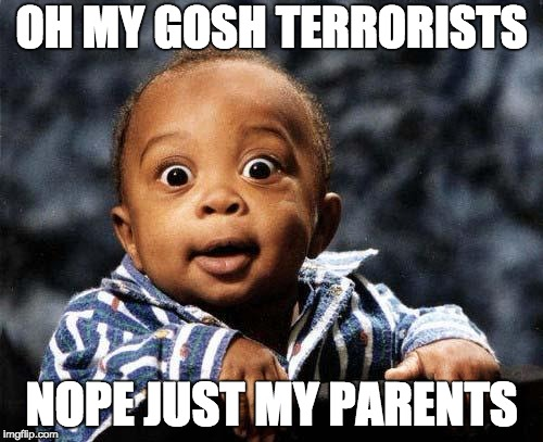 Surprised baby | OH MY GOSH TERRORISTS NOPE JUST MY PARENTS | image tagged in surprised baby | made w/ Imgflip meme maker