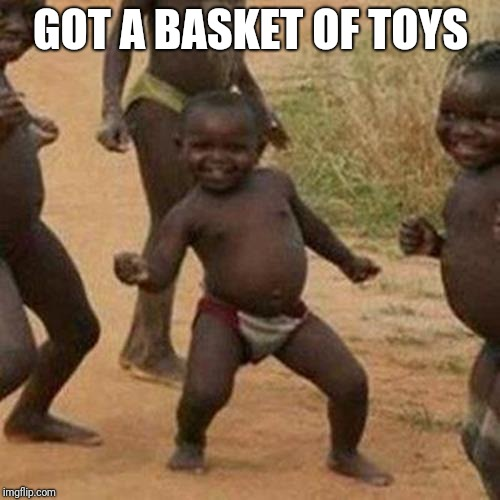 Third World Success Kid Meme | GOT A BASKET OF TOYS | image tagged in memes,third world success kid | made w/ Imgflip meme maker