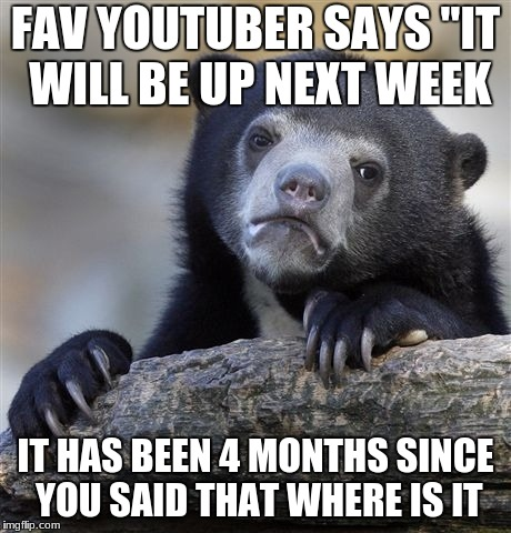 "Confession Bear Meme | FAV YOUTUBER SAYS ""IT WILL BE UP NEXT WEEK IT HAS BEEN 4 MONTHS SINCE YOU SAID THAT WHERE IS IT 