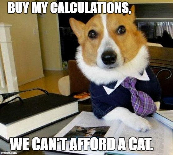 Lawyer Dog | BUY MY CALCULATIONS, WE CAN'T AFFORD A CAT. | image tagged in lawyer dog | made w/ Imgflip meme maker