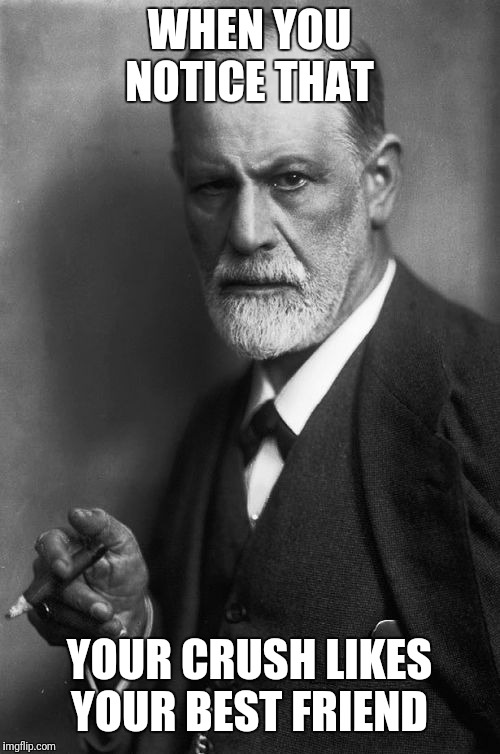 Sigmund Freud | WHEN YOU NOTICE THAT YOUR CRUSH LIKES YOUR BEST FRIEND | image tagged in memes,sigmund freud | made w/ Imgflip meme maker
