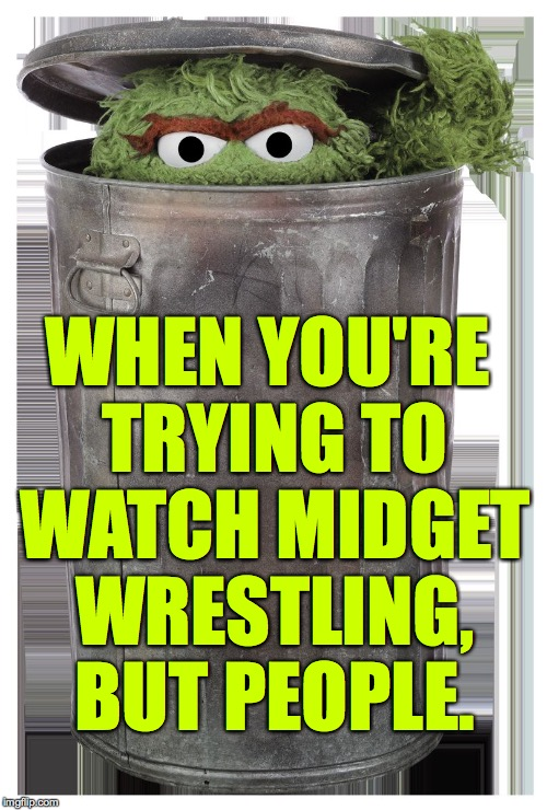 Pipe down out there!  This is my Me Time. | WHEN YOU'RE TRYING TO WATCH MIDGET WRESTLING, BUT PEOPLE. | image tagged in memes,oscar the grouch,me time | made w/ Imgflip meme maker