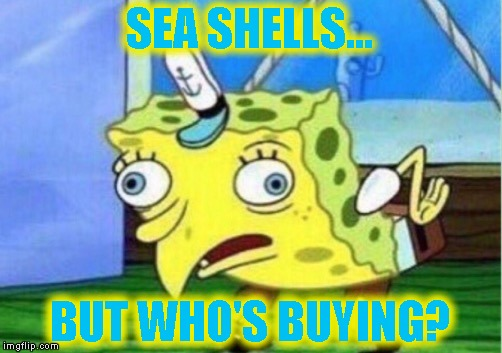 Mocking Spongebob Meme | SEA SHELLS... BUT WHO'S BUYING? | image tagged in memes,mocking spongebob | made w/ Imgflip meme maker