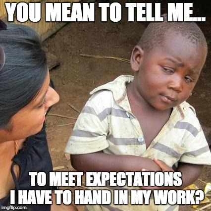 Third World Skeptical Kid | YOU MEAN TO TELL ME... TO MEET EXPECTATIONS I HAVE TO HAND IN MY WORK? | image tagged in memes,third world skeptical kid | made w/ Imgflip meme maker