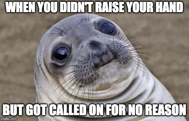 Awkward Moment Sealion Meme | WHEN YOU DIDN'T RAISE YOUR HAND BUT GOT CALLED ON FOR NO REASON | image tagged in memes,awkward moment sealion | made w/ Imgflip meme maker