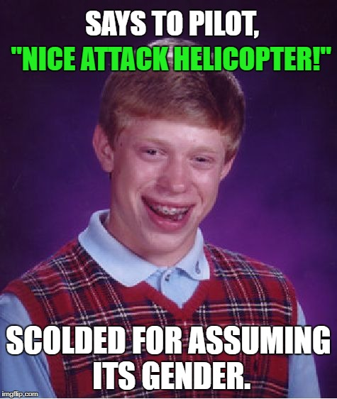 "Bad Luck Brian | ""NICE ATTACK HELICOPTER!"" SCOLDED FOR ASSUMING ITS GENDER. SAYS TO PILOT, 