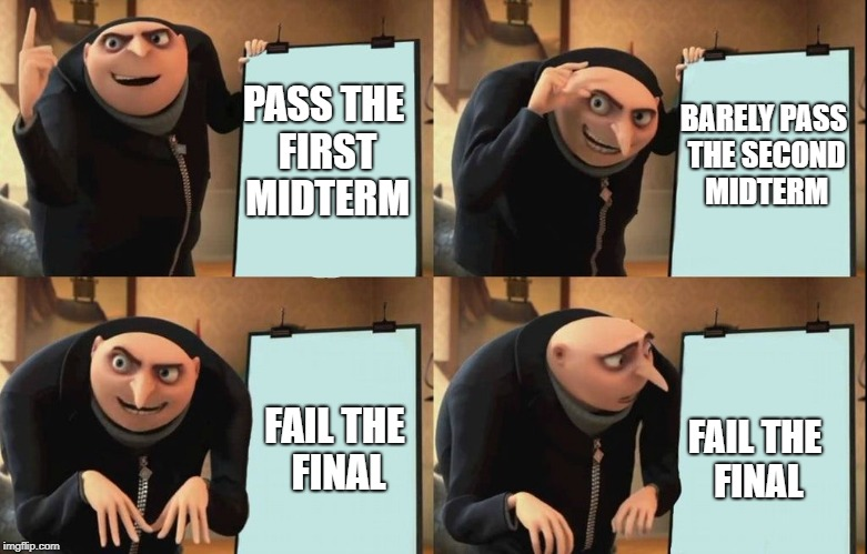 Despicable Me Diabolical Plan Gru Template | PASS THE FIRST MIDTERM BARELY PASS THE SECOND MIDTERM FAIL THE FINAL FAIL THE FINAL | image tagged in despicable me diabolical plan gru template | made w/ Imgflip meme maker