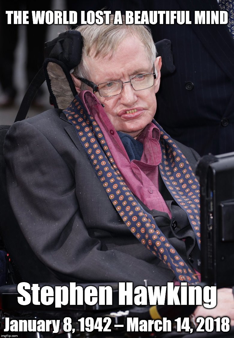 RIP Stephen Hawking | THE WORLD LOST A BEAUTIFUL MIND January 8, 1942 – March 14, 2018 Stephen Hawking | image tagged in stephen hawking,death,rip,mind | made w/ Imgflip meme maker