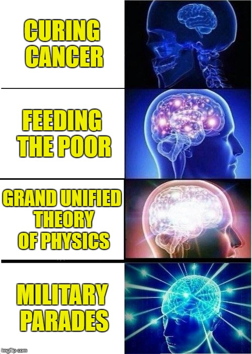 Expanding Brain Meme | CURING CANCER FEEDING THE POOR GRAND UNIFIED THEORY OF PHYSICS MILITARY PARADES | image tagged in memes,expanding brain | made w/ Imgflip meme maker