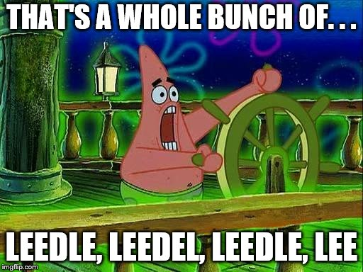 THAT'S A WHOLE BUNCH OF. . . LEEDLE, LEEDEL, LEEDLE, LEE | image tagged in leedle leedle leedle | made w/ Imgflip meme maker
