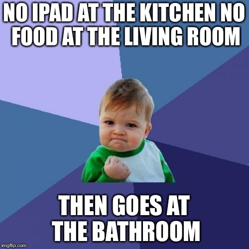 Success Kid Meme | NO IPAD AT THE KITCHEN NO FOOD AT THE LIVING ROOM THEN GOES AT THE BATHROOM | image tagged in memes,success kid | made w/ Imgflip meme maker