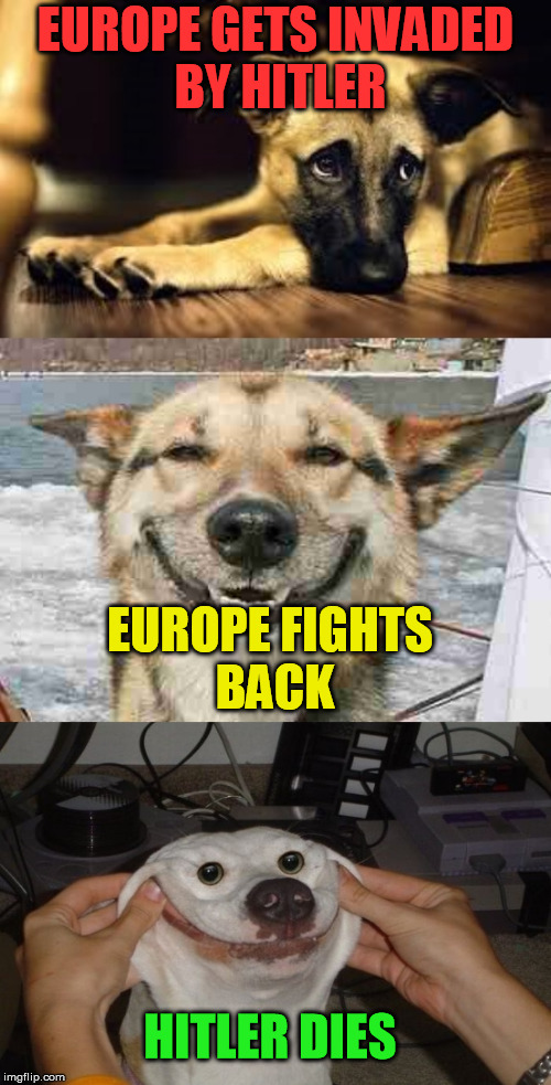 Sad dog,happy dog,happiest dog. | EUROPE GETS INVADED BY HITLER EUROPE FIGHTS BACK HITLER DIES | image tagged in sad dog happy dog happiest dog. | made w/ Imgflip meme maker