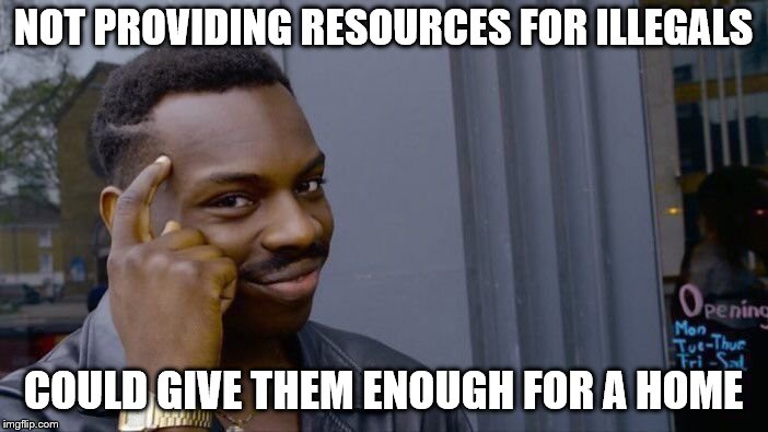 Roll Safe Think About It Meme | NOT PROVIDING RESOURCES FOR ILLEGALS COULD GIVE THEM ENOUGH FOR A HOME | image tagged in memes,roll safe think about it | made w/ Imgflip meme maker