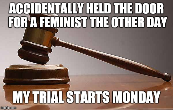 ACCIDENTALLY HELD THE DOOR FOR A FEMINIST THE OTHER DAY MY TRIAL STARTS MONDAY | image tagged in feminist | made w/ Imgflip meme maker