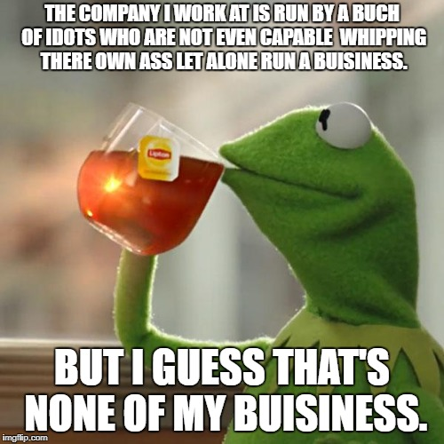 But Thats None Of My Business Meme | THE COMPANY I WORK AT IS RUN BY A BUCH OF IDOTS WHO ARE NOT EVEN CAPABLE  WHIPPING THERE OWN ASS LET ALONE RUN A BUISINESS. BUT I GUESS THAT | image tagged in memes,but thats none of my business,kermit the frog | made w/ Imgflip meme maker