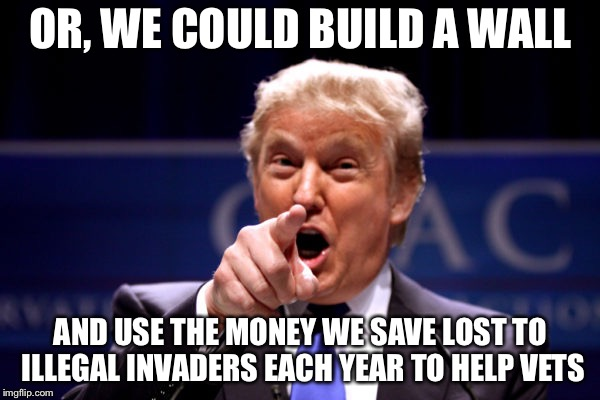 Your President BWHA-HA-HA! | OR, WE COULD BUILD A WALL AND USE THE MONEY WE SAVE LOST TO ILLEGAL INVADERS EACH YEAR TO HELP VETS | image tagged in your president bwha-ha-ha | made w/ Imgflip meme maker