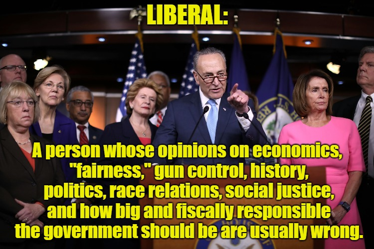 "Liberal Defined | LIBERAL: A person whose opinions on economics, ""fairness,"" gun control, history, politics, race relations, social justice, and how big and f 