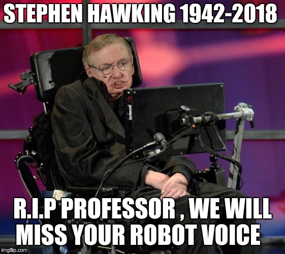 Stephen Hawking | STEPHEN HAWKING 1942-2018 R.I.P PROFESSOR , WE WILL MISS YOUR ROBOT VOICE | image tagged in stephen hawking | made w/ Imgflip meme maker
