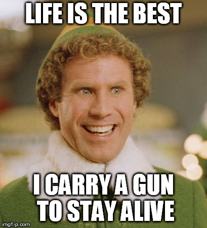 Buddy The Elf Meme |  LIFE IS THE BEST; I CARRY A GUN TO STAY ALIVE | image tagged in memes,buddy the elf | made w/ Imgflip meme maker